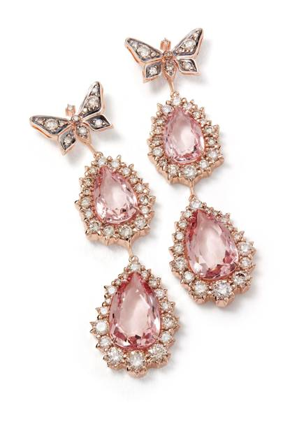 Earrings in rose gold with morganites and diamonds.