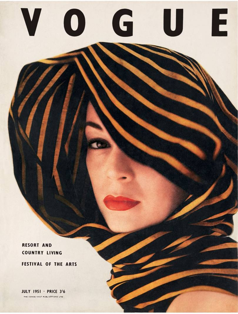 Jean Patchett photographed by Clifford Coffin on the cover of British Vogue, July 1951