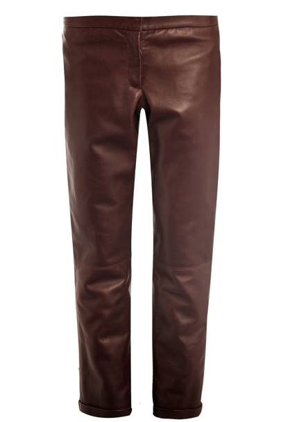 Burgundy leather trousers, £975