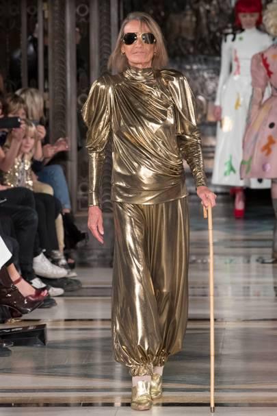 Anita Pallenberg walking in the SS17 Pam Hogg show at London Fashion Week
