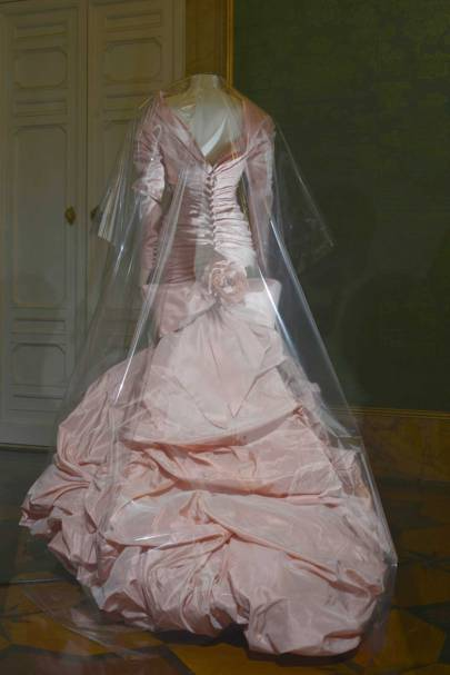"""Clouds of Faille"": Wedding dress in pink and ivory taffeta by Christian Lacroix Haute Couture, July 1987. This was the very first dress made by the Lacroix atelier, for the wedding of Pia de Brantes, just a few weeks before his debut Haute Couture show, and shows a mastery of volume. De Brantes has donated the dress to the Museum of Fashion of Palazzo Pitti."
