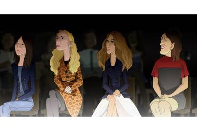 French Vogue editor Emmanuelle Alt, Italian Vogue editor Franca Sozzani and Harper's Bazaar editor Glenda Bailey