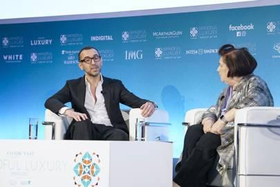 Alessandro Sartori, Ermenegildo Zegna's Artistic Director, in conversation with Suzy at the third Condé Nast International Luxury Conference in Oman