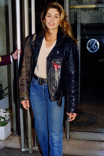 JANUARY 1989 - Here, at 21, she was working her version of [i]Top Gun[/i] chic in her leather bomber jacket, white T-shirt and jeans.