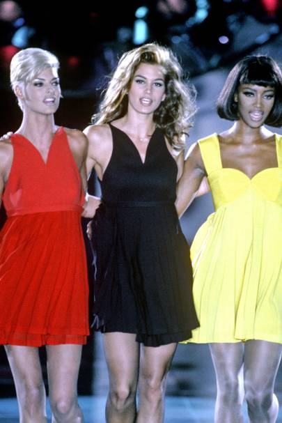 "1991 - In what was to become one of the most iconic catwalk moments of all time, Cindy walked down Gianni Versace's catwalk with Linda Evangelista, Naomi Campbell and Christy Turlington. Dubbed the supermodel ""maker"", Versace made history by paying the supers $30,000 each to appear in his shows."