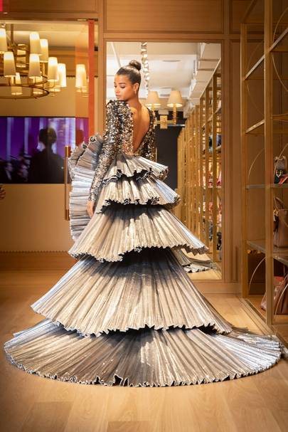 Ella Balinska Makes Her Met Gala Debut In Metallic Tiered Tory Burch Gown