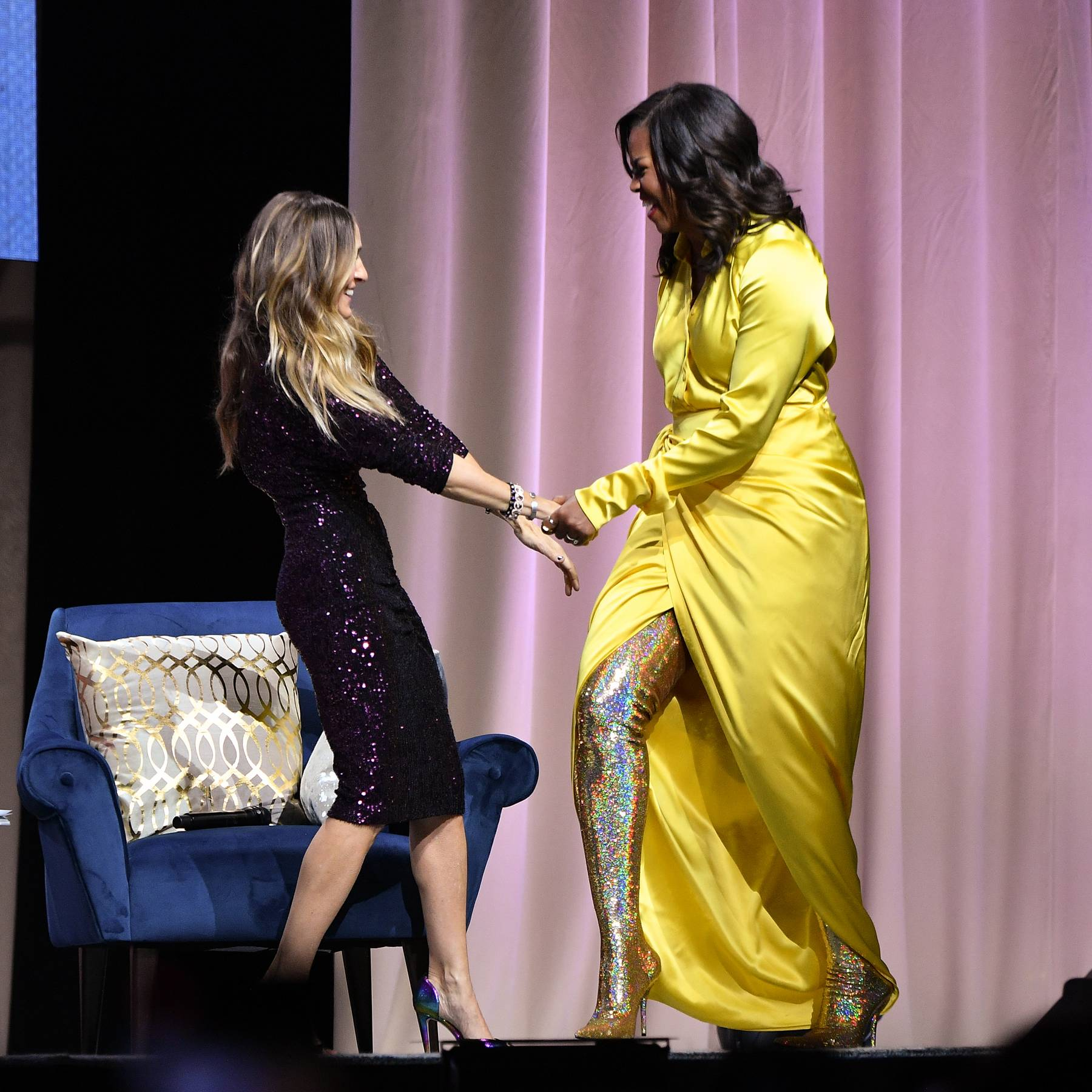 7cb22fefa5c1 Michelle Obama s Balenciaga Boots Are The Ultimate Christmas Mood ...