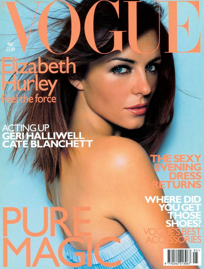 Elizabeth Hurley photographed by Mario Testino in Givenchy by Alexander McQueen, British Vogue, May 1999