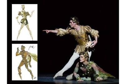 Christian Lacroix's watercolour costume illustration for [i]A Midsummer Night's Dream[/i] and the final costume on stage