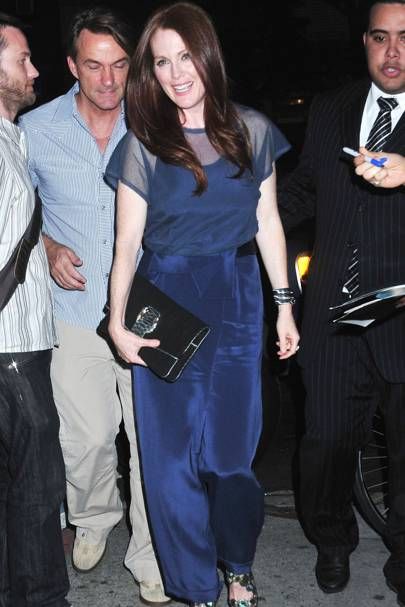 JULY 2010 - Julianne Moore wearing a Richard Nicoll prefall jumpsuit for a night out in New York.