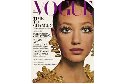 Marisa Berenson, Vogue September 1st 1968, by David Bailey. Hair by Roger at Vidal Sassoon. Jewellery by Ken Lane.