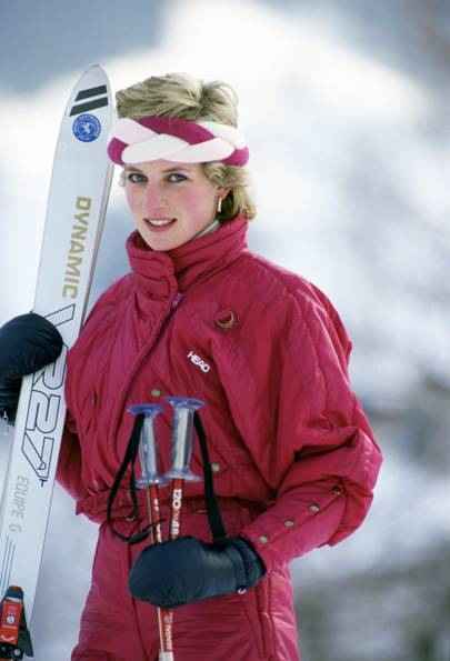 The braided headband and ski suit (Klosters, March 1986)