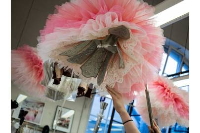 The ballerina's tutus featured graduated shades of pink, from blush to peony, creating painterly effects as they danced on stage