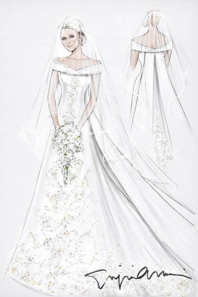 July 2017 A Sketch Of The Monaco Royal Wedding Dress By Giorgio Armani