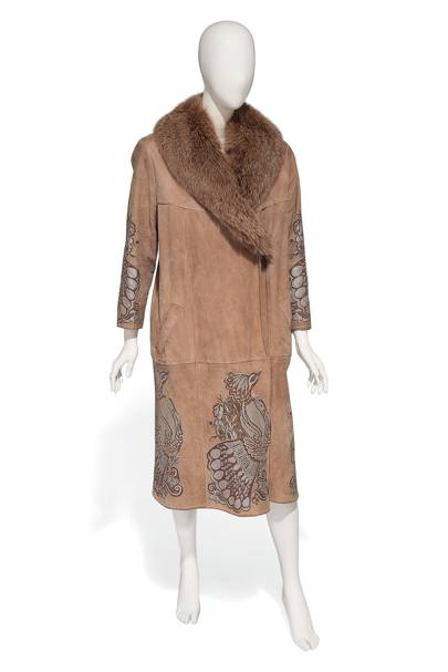 Bill Gibb suede leather coat embroidered with peacocks