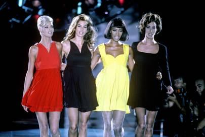 Linda Evangelista, Cindy Crawford, Naomi Campbell and Christy Turlington, 1991