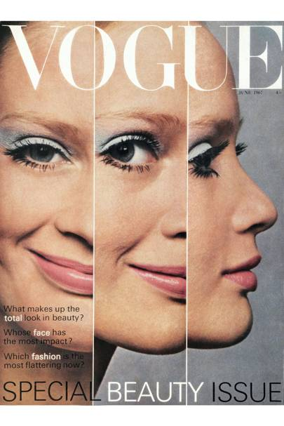 Opening sequence on beauty now - three views of this summer's face - smooth and shining with an unpowdery gleam, softer eye colouring. Make-up by Letheric. Photograph by David Bailey
