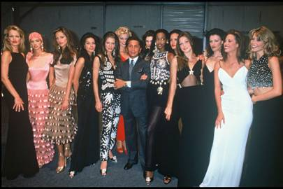 The Valentino model line-up including Karen Mulder, Eva Herzigova, Carla Bruni, Christy Turlington and Claudia Schiffer