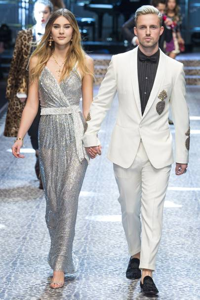 YouTube star Marcus Butler and his girlfriend Stefanie Giesinger walk the D&G catwalk.