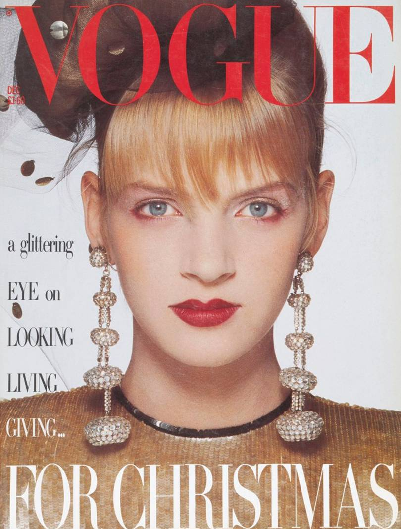 Patrick Demarchelier photo of Uma Thurman on the cover of British Vogue, December 1985
