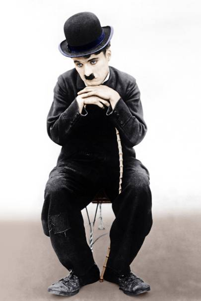 Charlie Chaplin wearing a bowler hat
