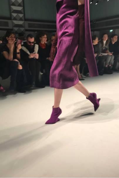 """Paul Andrew's new """"F"""" heel for Ferragamo, Autumn/Winter 2017, with fashion by Head of Womenswear, designer Fulvio Rigoni"""