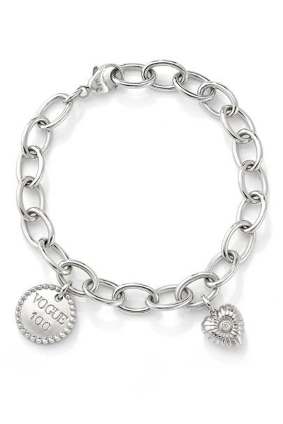 Mappin & Webb silver bracelet with diamond-set charms