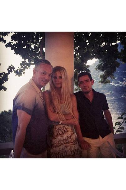 Birthday girl with Josh wood and Jonathan Gray-Davies at Villa Tre Ville