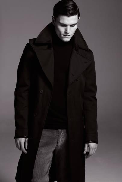 Coat, £299; cords, £99; jumper, £129