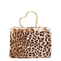 Shrimps Nancy leopard-print faux-fur bag