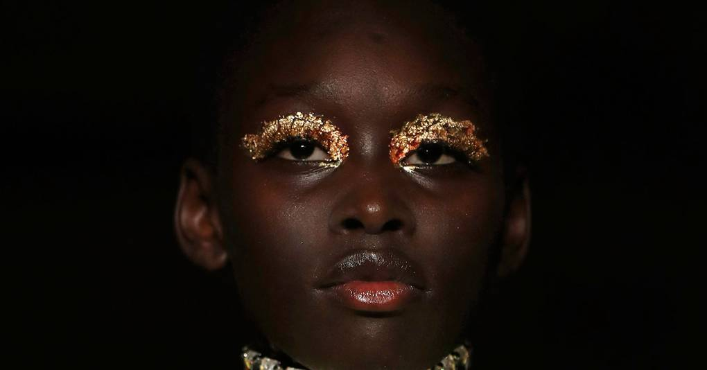 Isamaya Ffrench's Gold Foil Lids At Halpern Are A Disco Party Look Worthy Of A Saturday Night In London