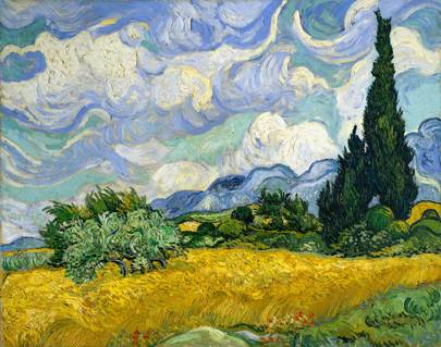 Wheat Field with Cypresses (1889)