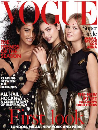 Imaan Hammam, Taylor Hill and Anna Ewers all wear Saint Laurent by Anthony Vaccarello. Make-up: Diane Kendal. Fashion Editor: Kate Phelan. Photographer: Patrick Demarchelier.