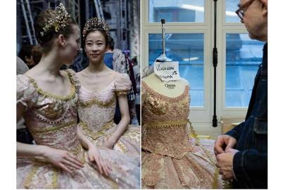 Christian Lacroix makes final checks to his costumes for [i]A Midsummer Night's Dream[/i] before the dress rehearsal (left)