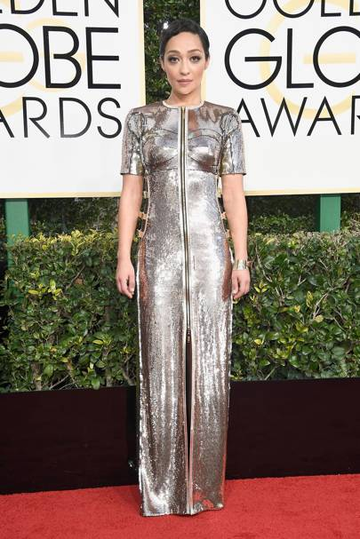 In Louis Vuitton at the Golden Globes 2017, January 8 2017