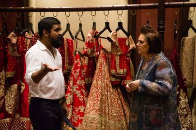 Sabyasachi showing Suzy some of the outfits he designed for the fashion  show to celebrate his collaboration with Christian Louboutin at Delhi  Couture Week c283e18981a8