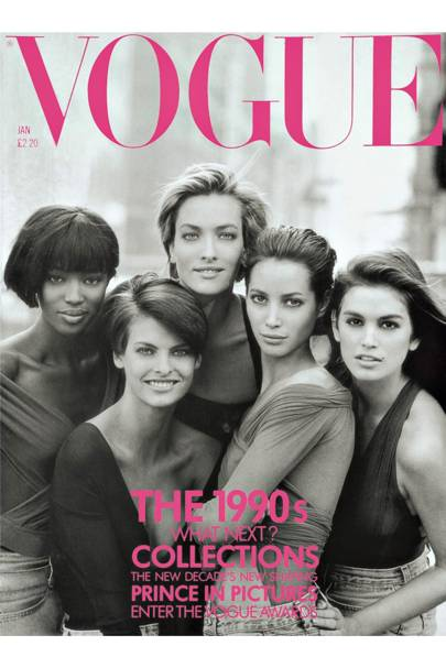 dd30965b2b JANUARY 1990 - Peter Lindbergh photographed Cindy with fellow supers Naomi  Campbell, Tatjana Patitz, Christy Turlington and Linda Evangelista for the  cover ...