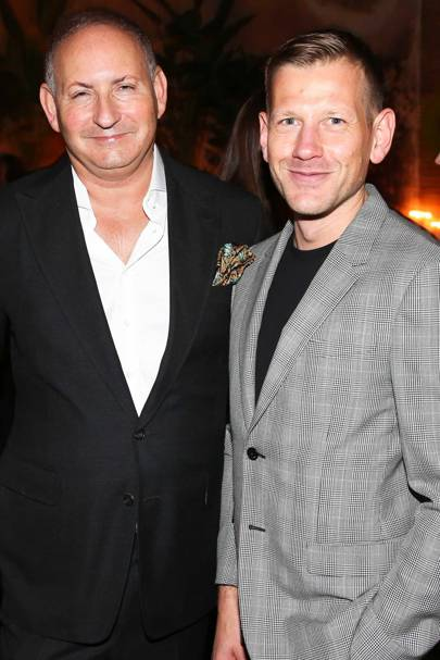Paul Andrew (right) with John Demsey, Executive Group President at The Estée Lauder Companies, at a launch dinner in Manhattan for the designer's new collection, hosted by Jo Malone London