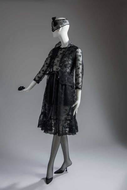 A Givenchy cocktail ensemble, comprising dress and jacket in Chantilly lace, worn by Audrey Hepburn in William Wyler's [i]How to Steal a Million[/i], 1968