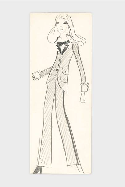 An original sketch by Saint Laurent of the very first