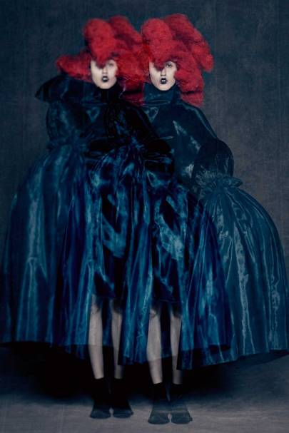 """Rei Kawakubo for Comme des Garçons, """"Blue Witch"""" collection, Spring/Summer 2016, courtesy of Comme des Garçons. Kawakubo frequently collaborates with hair stylist Julien d'Ys on headpieces and hairstyles for her collections, as shown here."""