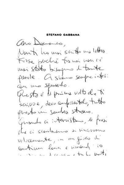 Stefano Gabbana Love Letter Domenico Dolce  British Vogue