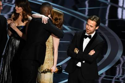 Ryan Gosling's reaction as the correct winner is announced