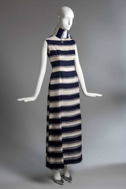 A Givenchy evening sheath in blue and white striped organza with matching scarf, formerly owned by the Duchess of Windsor, Summer 1966