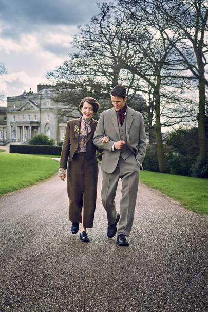 Claire Foy wears a Lanvin skirt suit and Church's brogues