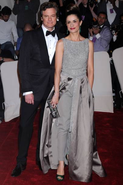 "MAY 2011 - Met Ball co-chair Colin Firth and his wife Livia, who wore a taupe organic silk jumpsuit with recycled embroidery and detachable abaca skirt from Stella McCartney, paired with sandals and a custom-made purse from Roger Vivier.   <A target=""_blank"" href=""http://www.vogue.co.uk/blogs/livia-firth/"">[b]READ LIVIA'S MET BALL BLOG HERE[/b]</a>"