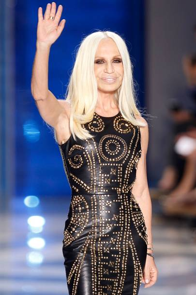 """DONATELLA VERSACE - The Italian designer is never seen without a deep brown tan and her signature peroxide blonde hair.  <A target=""""_blank"""" href=""""http://www.vogue.co.uk/fashion/designer/versace"""">[b]SEE THE VERSACE SHOW ARCHIVE[/b]</a>"""
