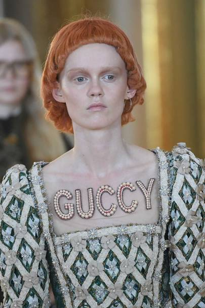 """Guccy"", ""Guccify Yourself"" and ""Guccification"" were slogans that featured in the Gucci Cruise 2018 collection"