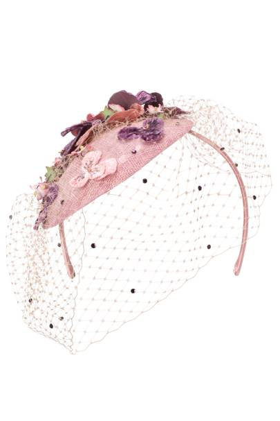 Floral net headpiece, £95