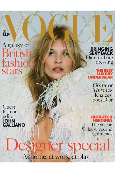 Kate Moss wears feather cape with pearl-encrusted collar, to order, Alexander McQueen. Hair: Sam McKnight. Make-up: Sam Bryant. Fashion editor: Kate Phelan. Photographer: Tim Walker